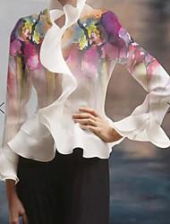billige -Bluse Dame - Geometrisk, Trykt mønster Grunnleggende Hvit