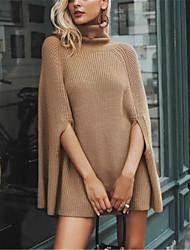 abordables -Femme Couleur Pleine Manches Longues Pullover, Col Arrondi Noir / Blanche / Chameau Taille unique