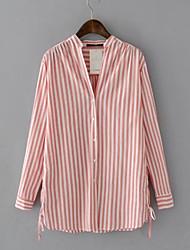 billige -Skjorte Dame - Stripet Grunnleggende Blå