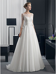 cheap -A-Line Boat Neck Sweep / Brush Train Chiffon / Lace Made-To-Measure Wedding Dresses with Sash / Ribbon by LAN TING Express