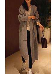 Недорогие -Жен. Повседневные Весна & осень Длинная Пальто, Однотонный Капюшон Длинный рукав Акрил Черный / Серый