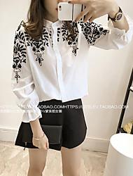 Недорогие -Жен. Рубашка Классический Цветочный принт Черный