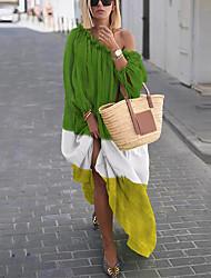 Недорогие -Жен. Прямое Платье - Контрастных цветов Макси