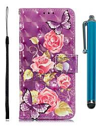 Недорогие -чехол для huawei p30 / huawei p30 pro / huawei p30 кошелек / визитница / с подставкой для всего тела кейсы фиолетовый цветок искусственная кожа для p20 / p20 pro / p20 lite / y6 2019 / mate20 lite