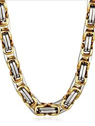 Недорогие -Муж. Цепочка Классический Вертикальная Мода Титановая сталь Золотой + серебро 50 cm Ожерелье Бижутерия 1шт Назначение Повседневные