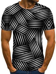 Недорогие -Муж. Плиссировка / С принтом Футболка Уличный стиль 3D / Животное / Мультипликация Черное и белое Черный
