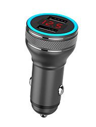 Недорогие -Цифровой дисплей QC3.0 быстрой зарядки автомобильное зарядное устройство синий светодиодный дисплей автомобильное зарядное устройство металла Dual USB автомобильное зарядное устройство
