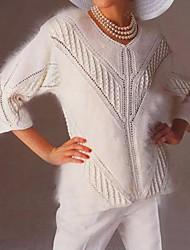 billige -Dame Ensfarget 3/4 ermer Pullover, V-hals Hvit M / L / XL