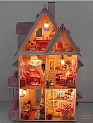Недорогие -поделки миниатюрный деревянный шоколад кукольный домик вилла с Светодиодные игрушки