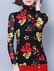 billige -Skjorte Dame - Blomstret, Trykt mønster Elegant Tropisk blad Rød