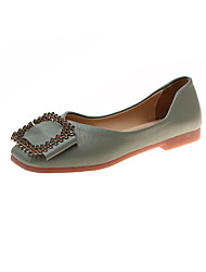 billige -Dame Flate sko Flat hæl Kvadratisk Tå PU minimalisme Høst Svart / Grønn / Rosa