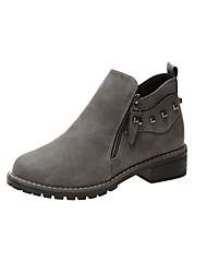 Недорогие -Жен. Ботинки На низком каблуке Круглый носок Полиуретан Ботинки На каждый день Осень Черный / Серый