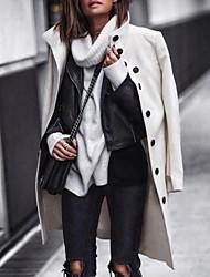 Недорогие -Жен. Повседневные Длинная Пальто, Однотонный Воротник-стойка Длинный рукав Полиэстер Черный / Белый