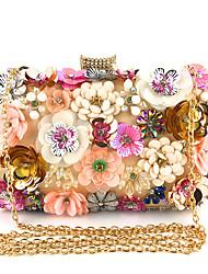 Недорогие -Жен. Цветы Полиэстер Вечерняя сумочка Цветочный принт Черный / Цвет шампанского / Синий