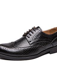 baratos -Homens Sapatos Confortáveis Couro Ecológico Outono Casual Oxfords Não escorregar Preto / Vermelho