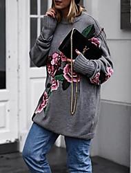 billige -Dame Blomstret Langermet Pullover Grå S / M / L