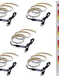 billige -1m Fleksible LED-lysstriper / RGB-lysstriper / Fjernkontroller 60 LED SMD5050 1 44Kjør fjernkontrollen Multifarget Kreativ / USB / Fest 5 V 5pcs