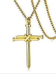 Недорогие -Муж. Ожерелья с подвесками геометрический Крест Мода Титановая сталь Черный Золотой Серебряный 60 cm Ожерелье Бижутерия 1шт Назначение Повседневные Праздники