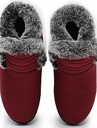 Недорогие -Жен. Ботинки На плоской подошве Круглый носок Хлопок Сапоги до середины икры Зима Черный / Красный