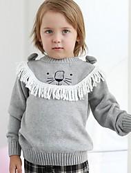 Недорогие -Дети Мальчики Уличный стиль С принтом Длинный рукав Свитер / кардиган Серый