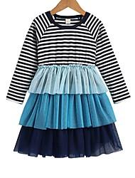 billige -Barn Jente Stripet Kjole Blå