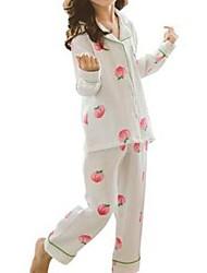 Недорогие -Дети Девочки Однотонный Пижамы Белый
