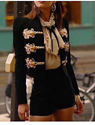 Недорогие -Жен. Повседневные Обычная Куртка, Однотонный Круглый вырез Длинный рукав Полиэстер Черный