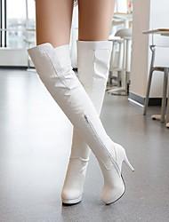 Недорогие -Жен. Ботинки На шпильке Круглый носок Полиуретан Сапоги до колена Наступила зима Черный / Белый