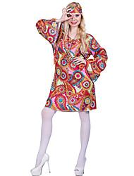 Недорогие -кисточка Винтаж В стиле 1960-х Хиппи В стиле 1970-х Костюм для вечеринки Жен. Костюм Красный Винтаж Косплей Длинный рукав / Цветочный принт