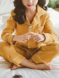 Недорогие -Дети Девочки Однотонный Пижамы Желтый
