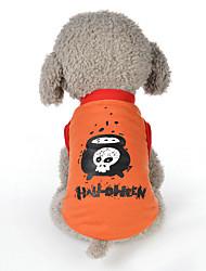 Недорогие -Собаки Платья Одежда для собак Цитаты и выражения Тыква Черный Лиловый Оранжевый Полиэстер Костюм Назначение Зима Бант Хэллоуин