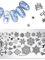 Недорогие -1 шт. Рождество снежинка олень штамповка пластины круглый шаблон печати маникюр ногтей изображение пластины