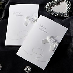 """cheap Wedding Invitations-Side Fold Wedding Invitations 1-Invitation Sample Vintage Style Classic Style Floral Style Card Paper 6 ½""""×4 ½"""" (16.6*11.5cm) Bows Flowers"""