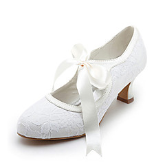 cheap Wedding Shoes-Women's Shoes Satin Stretch Satin Spring Summer Mary Jane Spool Heel Ribbon Tie for Wedding White Ivory