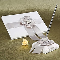 Guest Book Pen Set Satin Garden Theme With Faux Pearl Wedding Ceremony
