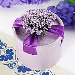 Cylinder Card Paper Favor Holder With Flowers Ribbons Favor Boxes-12