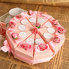 Pyramid Card Paper Favor Holder With Flowers Ribbons Favor Boxes-10