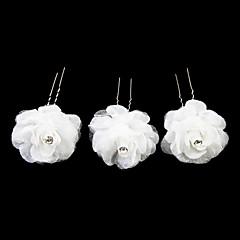 יפה סאטן פרח ילדה סיכות / headpiece (קבוצה של 3) אלגנטי בסגנון