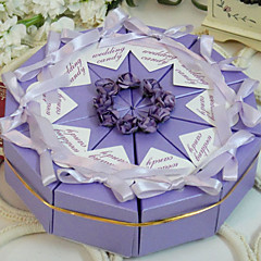 Pyramid Pearl Paper Favor Holder With Flowers Ribbons Favor Boxes-10