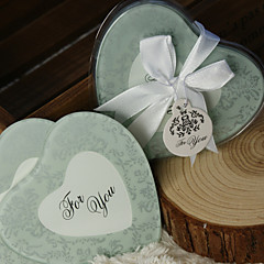 Frosted Damask Print Heart Photo Coasters (Set of 2) Wedding Favors