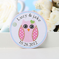 cheap Stickers, Labels & Tags-Personalized Favor Tag - Pink Owl (Set of 36) Wedding Favors Beautiful
