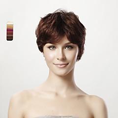 billige Lågløs-Syntetiske parykker / Human Hair Capless Parykker Lige / Klassisk Frisure i lag Syntetisk hår / Menneskehår 8 inch Paryk Dame Lågløs Mørkebrun / Ret