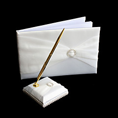 cheap Guest Book & Pen Sets-Guest Book Pen Set Satin Garden ThemeWithRhinestone Bowknot Ribbons