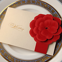 Beautiful Wedding Invitation With Embossed Flower (Set of 50)