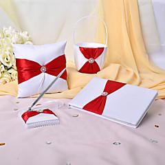 4 Set Colecţie Roșu Carte de Oaspeți / Set stilou / Pernuță inel / Coș de Flori