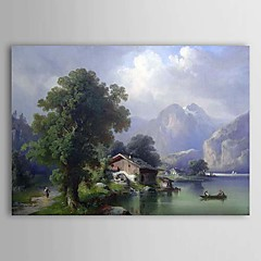 cheap Wall Art-Oil Painting Hand Painted - Landscape Comtemporary Stretched Canvas