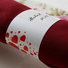 gepersonaliseerde papieren servetring - rode harten (set van 50) huwelijksreceptie