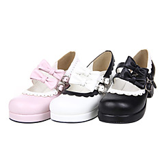 cheap Lolita Footwear-Lolita Shoes Sweet Lolita Dress Handmade High Heel Shoes Bowknot 4.5 CM White Black Pink For PU Leather/Polyurethane Leather