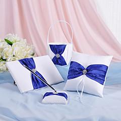 4 Set Colecţie Alb / Albastru Coș de Flori / Carte de Oaspeți / Set stilou / Pernuță inel