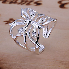 Women's Engagement Ring Adjustable Open Luxury Costume Jewelry Crystal Animal Shape Butterfly Jewelry For Wedding Daily